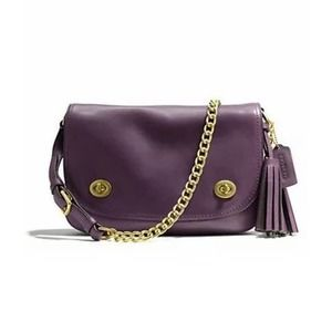 COACH LEGACY turnlock flap top crossbody purple